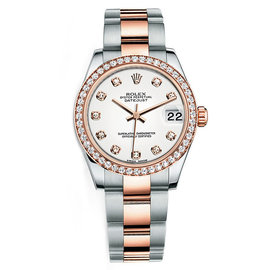 Rolex New Style Datejust Midsize Two Tone Custom Diamond Bezel & Diamond Dial on Oyster Bracelet P178271WDDO Watch