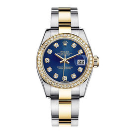 Rolex Women's New Style Two-Tone Datejust with Custom Blue Diamond Dial on Oyster Band