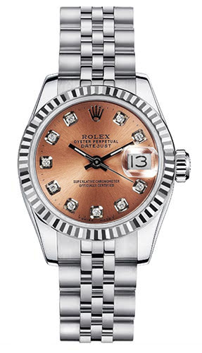 "Image of ""Rolex Women's New Style Steel Datejust with Custom Pink Diamond Dial"""