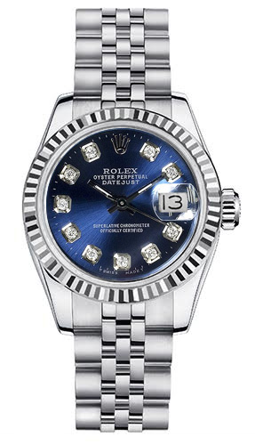 """Image of """"Rolex Women's New Style Steel Datejust with Custom Blue Diamond Dial"""""""