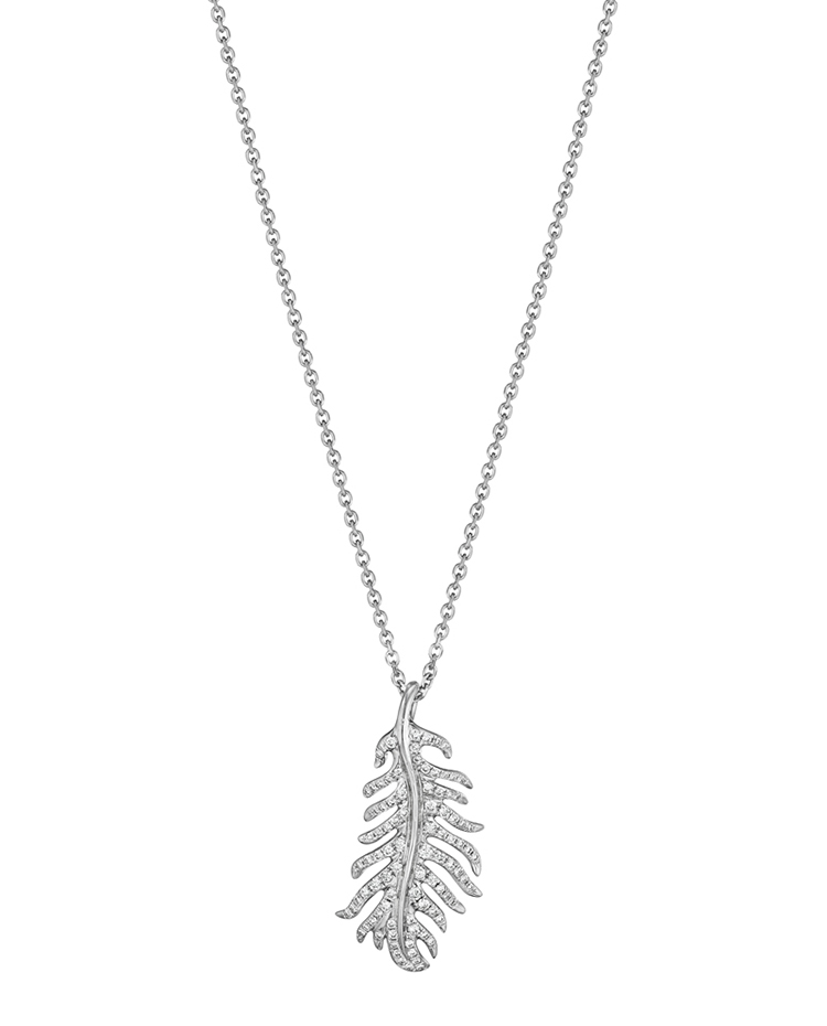 "Image of ""18K Gold Phoenix Feather Vertical Necklace"""