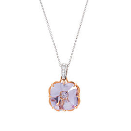18k Pwg Lavender Amethyst and Diamond Center Monet Cushion With Chain
