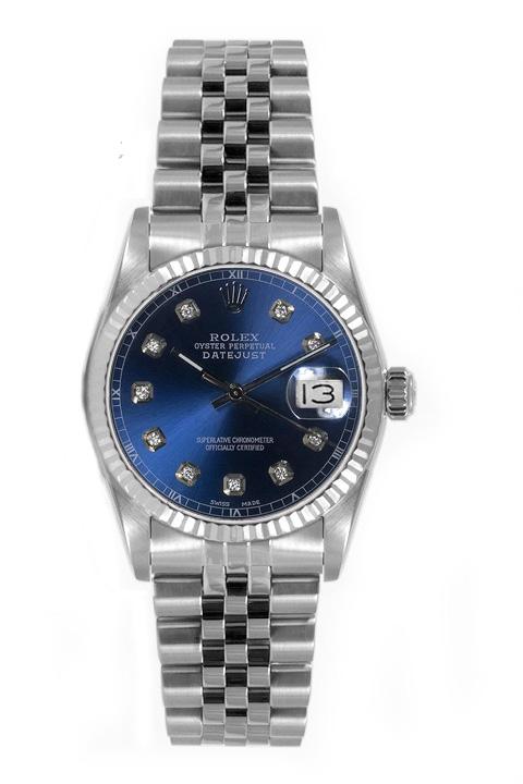 "Image of ""Rolex Women's Datejust Midsize Stainless Steel Custom Blue Diamond"""