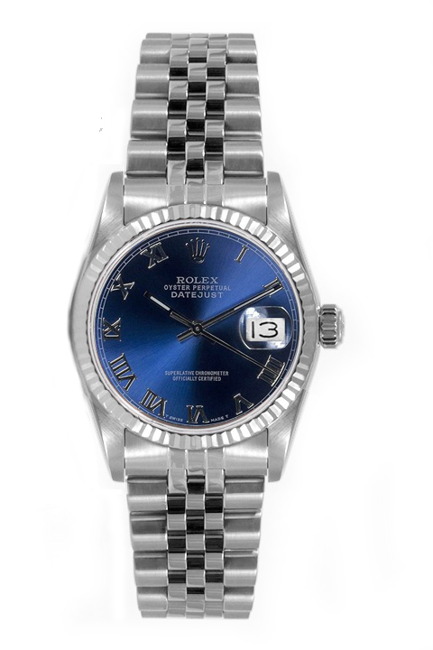 "Image of ""Rolex Women's Datejust Midsize Stainless Steel Blue Roman Dial Watch"""