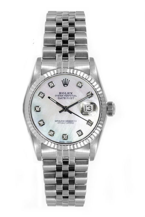 "Image of ""Rolex Women's Datejust Midsize Stainless Steel Fluted Custom Mother of"""