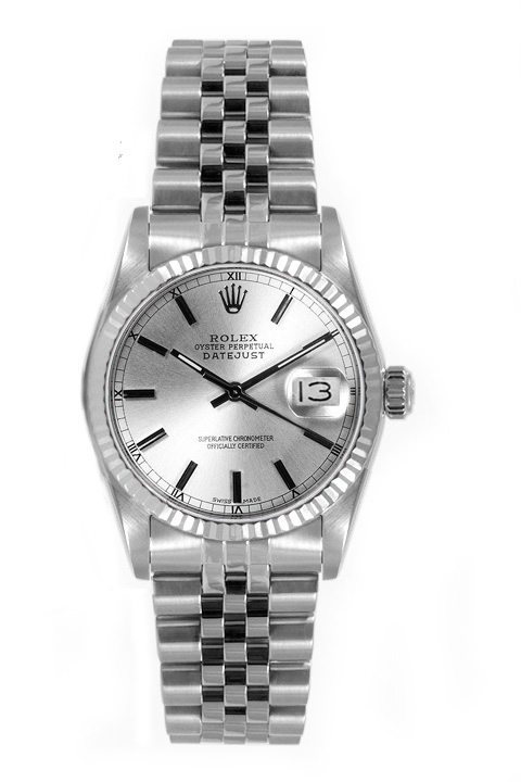 """Image of """"Rolex Women's Datejust Midsize Stainless Steel Silver Index Dial Watch"""""""