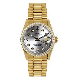 Rolex Women's President Midsize Custom Diamond Bezel Silver Diamond Dial Watch