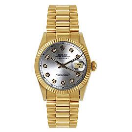 Rolex Women's President Midsize Fluted Custom Silver Diamond Dial Watch