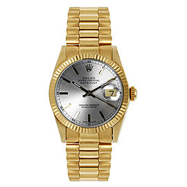 Rolex Women's President Midsize Fluted Silver Index Dial Watch