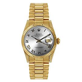 Rolex Women's President Midsize Fluted Silver Roman Dial Watch