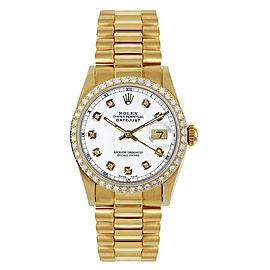 Rolex Women's President Midsize Custom Diamond Bezel White Diamond Dial Watch