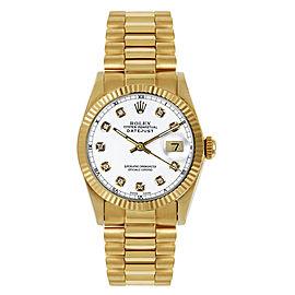 Rolex Women's President Midsize Fluted Custom White Diamond Dial Watch