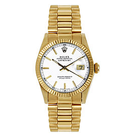 Rolex Women's President Midsize Fluted White Index Dial Watch