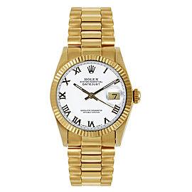 Rolex Women's President Midsize Fluted White Roman Dial Watch
