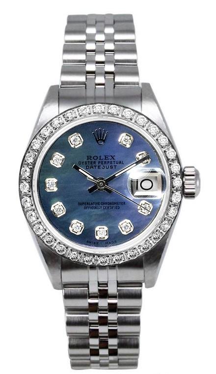 "Image of ""Rolex Women's Datejust Stainless Steel Custom Diamond Bezel & Dark"""