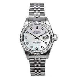 Rolex Women's Datejust Stainless Steel Custom Diamond Bezel & Pearl Diamond Dial Watch