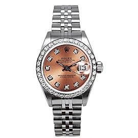 Rolex Women's Datejust Stainless Steel Custom Diamond Bezel & Pink Diamond Dial Watch