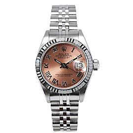 Rolex Women's Datejust Stainless Steel Custom Pink Roman Dial Watch