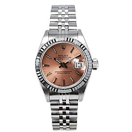 Rolex Women's Datejust Stainless Steel Custom Pink Index Dial Watch