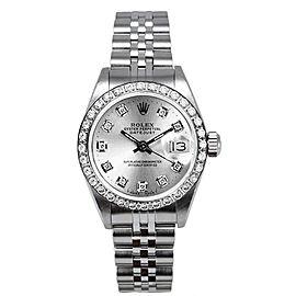 Rolex Women's Datejust Stainless Steel Custom Diamond Bezel & Silver Diamond Dial Watch