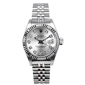 Rolex Women's Datejust Stainless Steel Custom Silver Diamond Dial Watch
