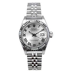 Rolex Women's Datejust Stainless Steel Silver Roman Dial Watch