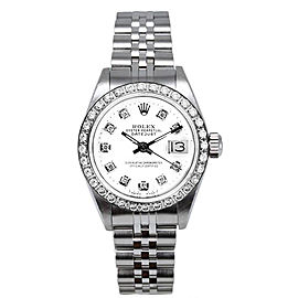 Rolex Women's Datejust Stainless Steel Custom Diamond Bezel & White Diamond Dial Watch