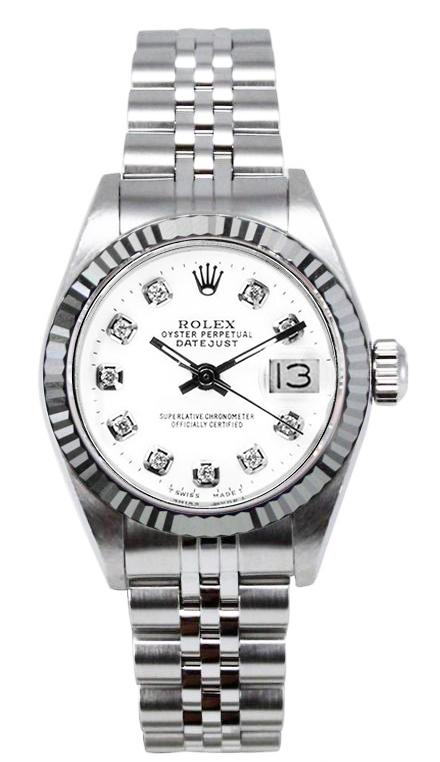 "Image of ""Rolex Women's Datejust Stainless Steel Custom White Diamond Dial Watch"""