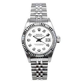 Rolex Women's Datejust Stainless Steel Custom White Diamond Dial Watch