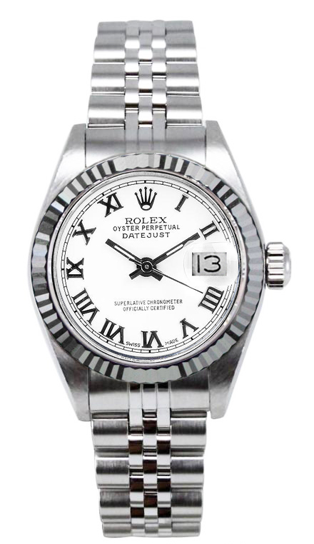 """Image of """"Rolex Women's Datejust Stainless Steel White Roman Dial Watch"""""""