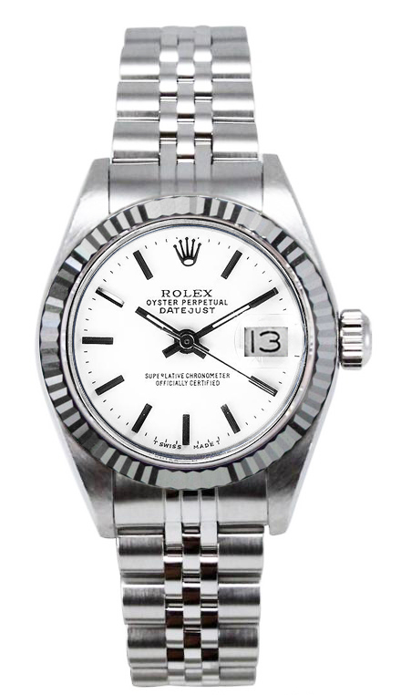 "Image of ""Rolex Women's Datejust Stainless Steel White Index Dial Watch"""