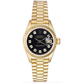 Rolex Women's President Yellow Gold Fluted Custom Black Diamond Dial Watch