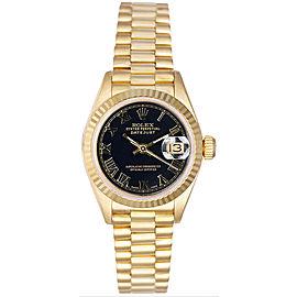 Rolex Women's President Yellow Gold Fluted Black Roman Dial Watch