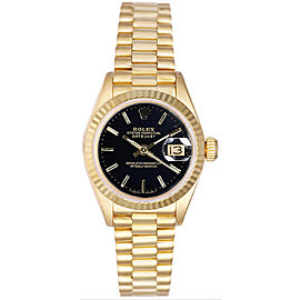 Rolex Women's President Yellow Gold Fluted Black Index Dial Watch