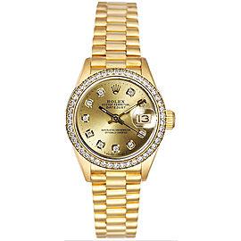 Rolex Women's President Yellow Gold Custom Diamond Bezel & Champagne Diamond Dial Watch