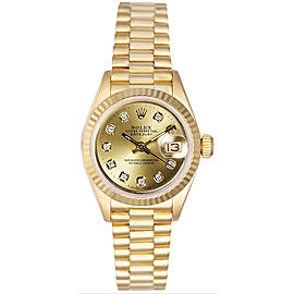 Rolex Women's President Yellow Gold Fluted Custom Champagne Diamond Dial Watch