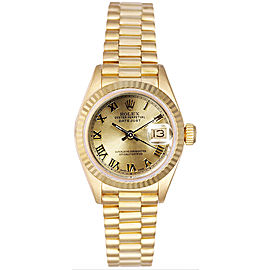 Rolex Women's President Yellow Gold Fluted Champagne Roman Dial Watch