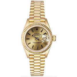 Rolex Women's President Yellow Gold Fluted Champagne Index Dial Watch
