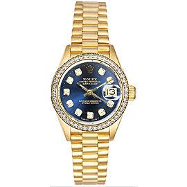Rolex Women's President Yellow Gold Custom Diamond Bezel & Blue Diamond Dial Watch