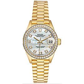 Rolex Women's President Yellow Gold Custom Diamond Bezel & Mother of Pearl Diamond Dial Watch