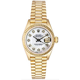 Rolex Women's President Yellow Gold Fluted Custom Mother of Pearl Diamond Dial Watch