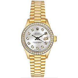 Rolex Women's President Yellow Gold Custom Diamond Bezel & Silver Diamond Dial Watch