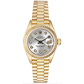 Rolex Women's President Yellow Gold Fluted Custom Silver Diamond Dial Watch