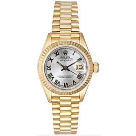 Rolex Women's President Yellow Gold Fluted Silver Roman Dial Watch