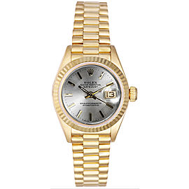 Rolex Women's President Yellow Gold Fluted Silver Index Dial Watch