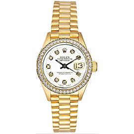Rolex Women's President Yellow Gold Custom Diamond Bezel & White Diamond Dial Watch