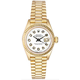 Rolex Women's President Yellow Gold Fluted Custom White Diamond Dial Watch