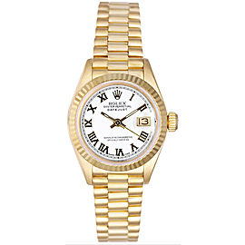 Rolex Women's President Yellow Gold Fluted White Roman Dial Watch