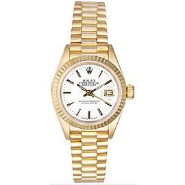 Rolex Women's President Yellow Gold Fluted White Index Dial Watch