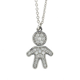 18k White Gold Salavetti Diamond Child Pendant Necklace